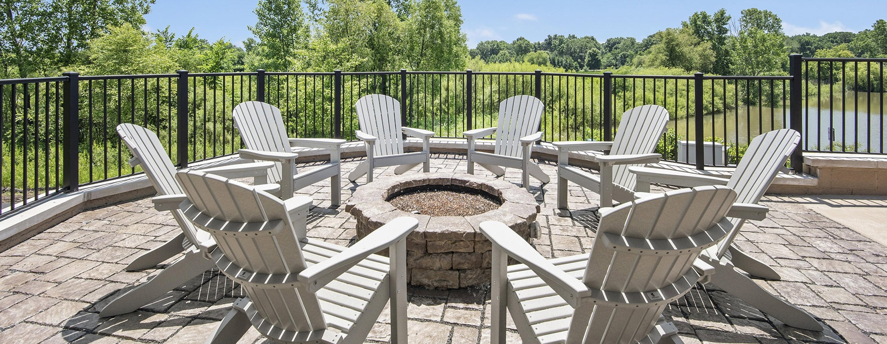 fire pit with adirondack chairs